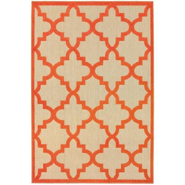 StyleHaven Lattice Sand/ Orange Indoor-Outdoor Area Rug - 9'10 x 12'10