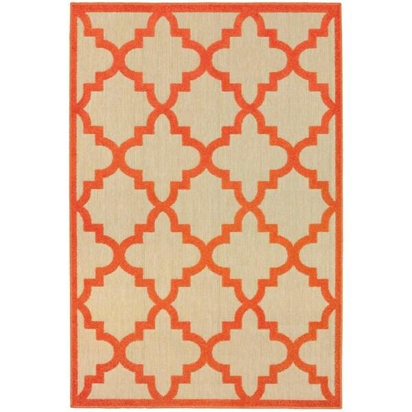 "Mixed Pile Lattice Sand/ Orange Indoor-Outdoor Area Rug - 7'10"" x 10'10"""