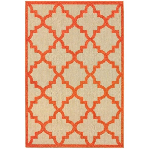 StyleHaven Lattice Sand/ Orange Indoor-Outdoor Area Rug - 7'10 x 10'10