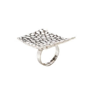 Mayan Series Solid Re-caratangle Design No. 4 Silver and Pewter Ring