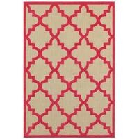 StyleHaven Lattice Sand/ Pink Indoor-Outdoor Area Rug - 9'10 x 12'10