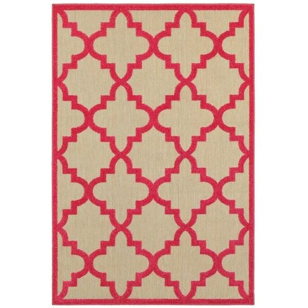 StyleHaven Lattice Sand/ Pink Indoor-Outdoor Area Rug - 9'10 x 12'10