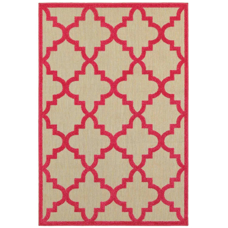 Mixed Pile Lattice Sand/ Pink Indoor-Outdoor Area Rug - 710 x 1010 (710 x 1010 - Sand/Pink)