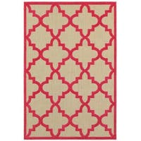 StyleHaven Lattice Sand/ Pink Indoor-Outdoor Area Rug - 7'10 x 10'10