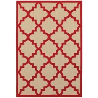Style Haven Quatrefoil Lattice Sand/Red Polypropylene Indoor/Outdoor Rug (9'10 x 12'10)
