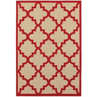Style Haven Quatrafoil Lattice Sand/Red Polypropylene Indoor/Outdoor Area Rug (7'10 x 10'10)