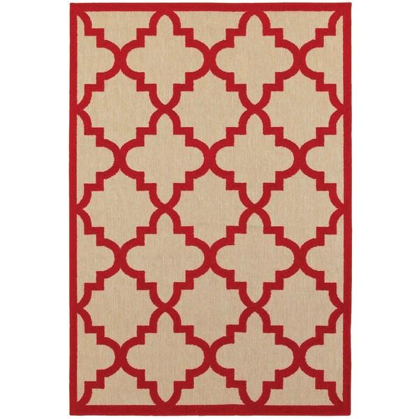"""StyleHaven Lattice Sand/ Red Indoor-Outdoor Area Rug (7'10x10'10) - 7'10"""" x 10'10"""""""
