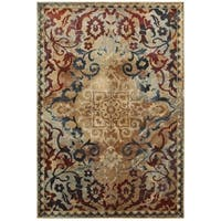 Gold/Red Distressed Floral Medallion Area Rug (7'10 x 10'10) - 7'10 x 10'10