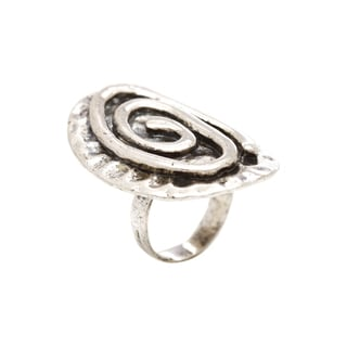 Mayan Series No. 3 Silver and Pewter Solid Round Swirl Design Ring