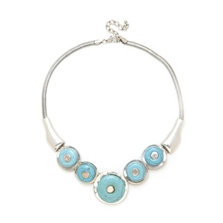 Aztec Style Design Number 23 Silver Handcrafted Turquoise Vintage-style Round Stone Necklace