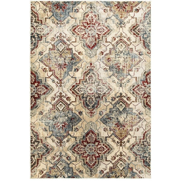 "Antiqued All-over Medallions Ivory/Gold Area Rug (9'10 x 12'10) - 9'10"" x 12'10"""
