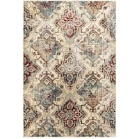 Antiqued All-over Medallions Ivory/Gold Area Rug (9'10 x 12'10) - 9'10 X 12'10