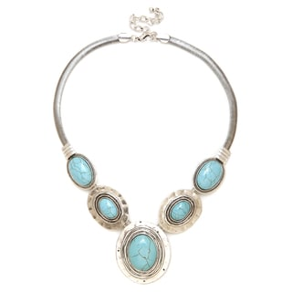 Aztec Style Vintage Silver Handcrafted Turquoise Necklace with Offset Oval Stone