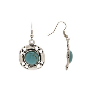 Aztec Design No22 Sterling Silver Turquoise Rounded Square-design Vintage-style Dangle Earrings
