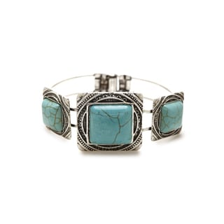 Aztec Design Vintage Silver and Mexican Square Turquoise Stone Handcrafted Bangle