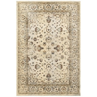 """Arabesque Traditions Ivory/ Gold Polyester/ Polypropylene Area Rug (7'10 x 10'10) - 7'10"""" x 10'10"""""""