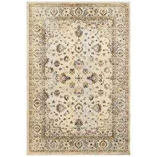 Arabesque Traditions Ivory/ Gold Polyester/ Polypropylene Area Rug (7'10 x 10'10)