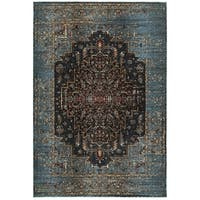 Regal Medallion Blue/Navy Polypropylene and Polyester Area Rug (9'10 x 12'10) - 9'10 x 12'10