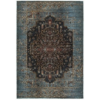 Regal Medallion Blue/Navy Polypropylene and Polyester Area Rug (9'10 x 12'10)
