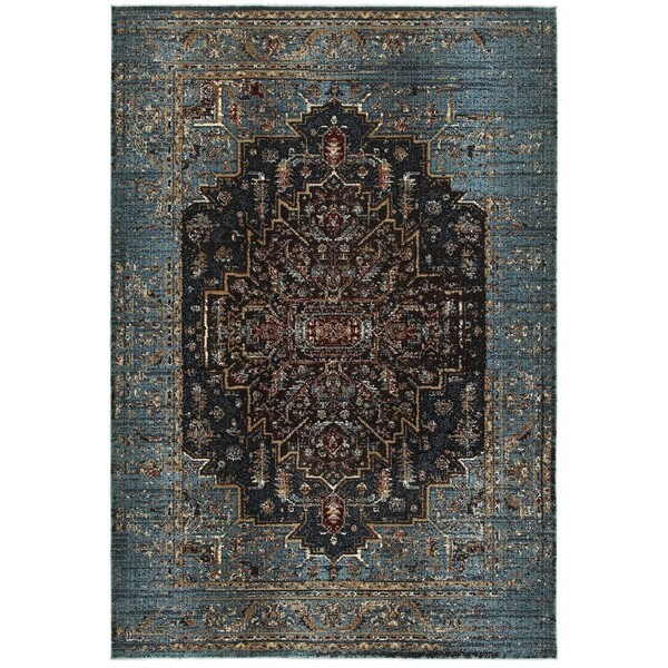 Regal Medallion Blue/Navy Area Rug (7'10 x 10'10) -  Style Haven