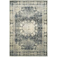 Gracewood Hollow Riggs Distressed Medallion Ivory/Blue Area Rug - 9'10 x 12'10