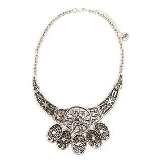 Mayan Series No2 Silver and Pewter Hammered Tribal Design Choker-style Necklace