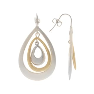 Mayan Series Solid Teardrop Design No. 3 Silver and Pewter Hook Earrings