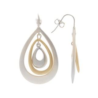 Mayan Series Solid Teardrop Design No. 3 Silver and Pewter Hook Earrings