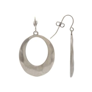 Mayan Series Hand-fashioned Loop Design Silver and Pewter Hook Earrings