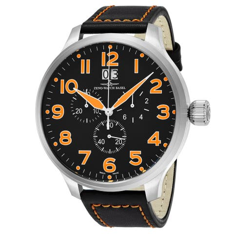 Zeno Men's 6221-8040-A15 'SOS' Black Dial Black Leather Strap Chronograph Swiss Automatic Watch