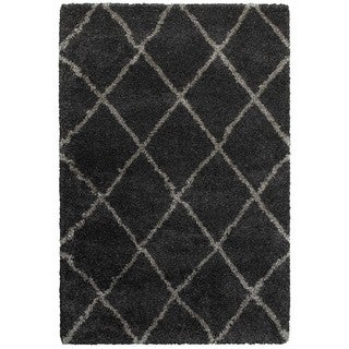 Diamond Lattice Charcoal/Grey Polypropylene Shag Rug (9'10 x 12'10)
