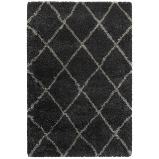 Style Haven Diamond Lattice Charcoal/Grey Polypropylene Shag Area Rug (7'10 x 10'10)