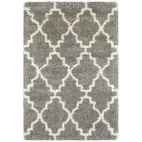 Oliver & James Burzi Grey and Ivory Quatrafoil Shag Rug - 7'10 x 10'10