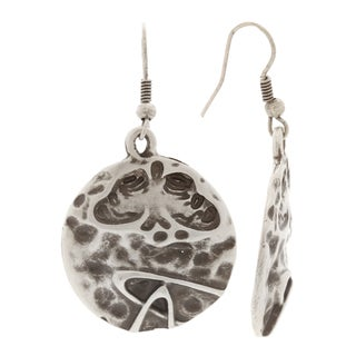 Mayan Series Hammered Silver and Pewter Tribal Hook Earrings