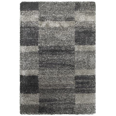 "Style Haven Shaded Blocks Grey/Charcoal Polypropylene Shag Area Rug (9'10 x 12'10) - 9'10"" x 12'10"""