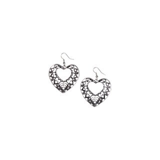 Mayan Series Silver and Pewter Love Heart Design Hook Earrings