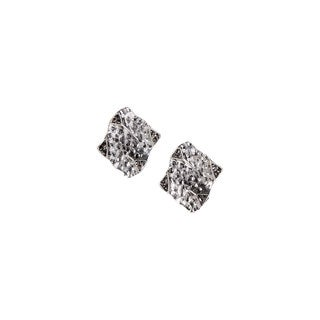 Mayan Series Women's Hammered Abstra-carat Design Silver and Pewter Stud Earrings