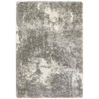 "Porch & Den Barton Granite Light Grey/ Ivory Polypropylene Shag Rug - 9'10"" x 12'10"""