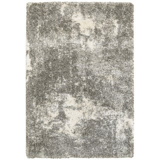 Porch & Den BartonGranite Light Grey/ Ivory Polypropylene Shag Rug - 7'10 x 10'10