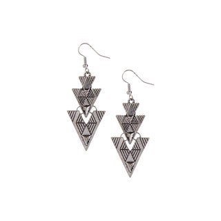 Mayan Series Silver and Pewter Arrowhead Design Hook Earrings