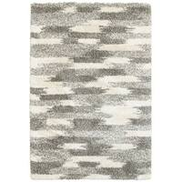 Oliver & James Bova Ivory and Grey Blocks Shag Area Rug - 9'10 x 12'10