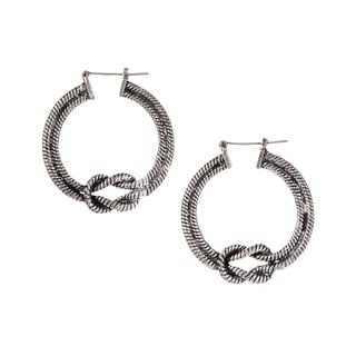 Mayan Series Silver and Pewter Classic Tribal Knot Design Hook Earrings