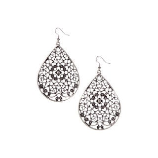 Mayan Series Filigree Teardrop Design Silver and Pewter Hook Earrings