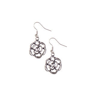 Mayan Series Silver and Pewter Wildflower Hook Earrings