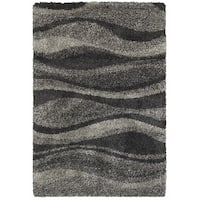 Style Haven Shadow Waves Grey/Charcoal Polypropylene Shag Rug - 7'10 x 10'10