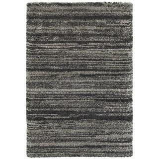 Shadow Stripes Grey/Charcoal Polypropylene Shag Rug - 9'10 x 12'10