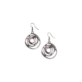 Mayan Series Solar Eclipse Design Silver and Pewter Hook Earrings