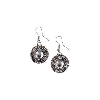 Mayan Series Silver and Pewter Sun Orbit-design Hook Earrings