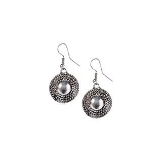 Mayan Series Silver and Pewter Sun Orbit-design Hook Earrings