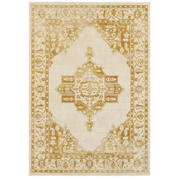 """Silver Orchid Bennison Ivory/Gold Two-tone Traditional Medallion Area Rug - 7'10"""" x 10'10"""""""